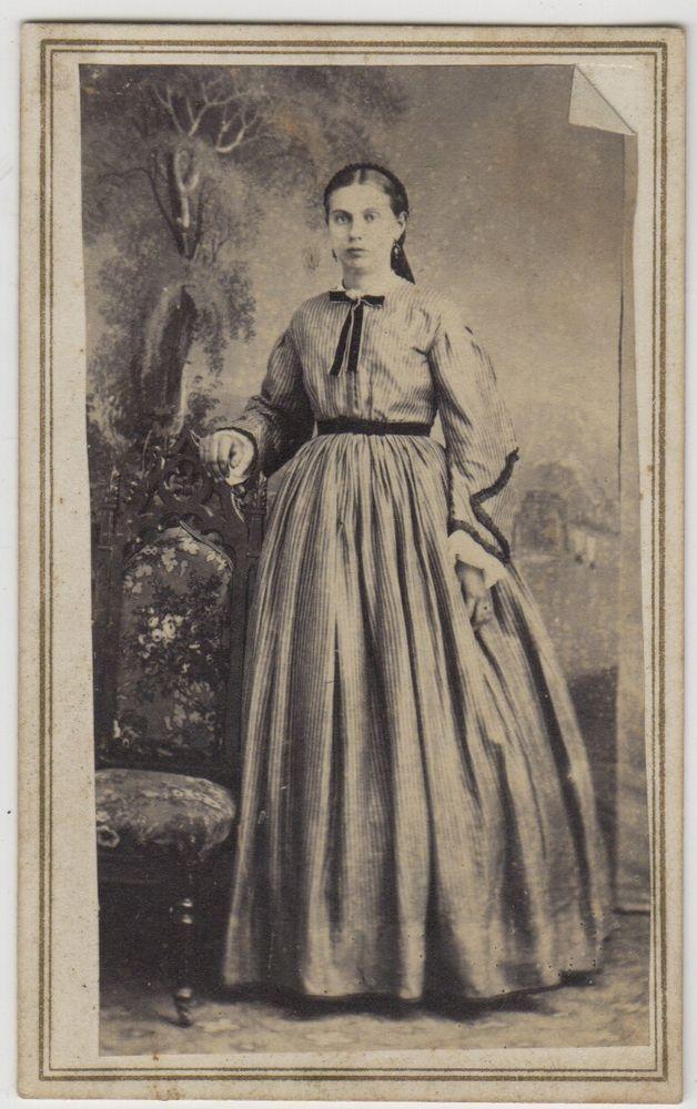 CDV 1865 Civil War Young Woman - Photo By W K Sherwood, Flemington NJ Tax Stamp