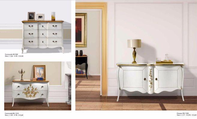 Wit houten dressoir met gouden details. Verkrijgbaar met twee deuren of met 2- of 3-lades.