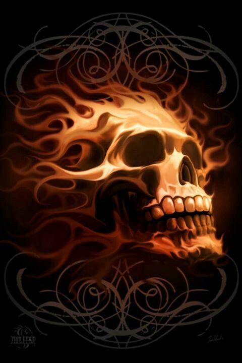 VERY Cool and Unique Skull w/Design & Skull/Flame Combination