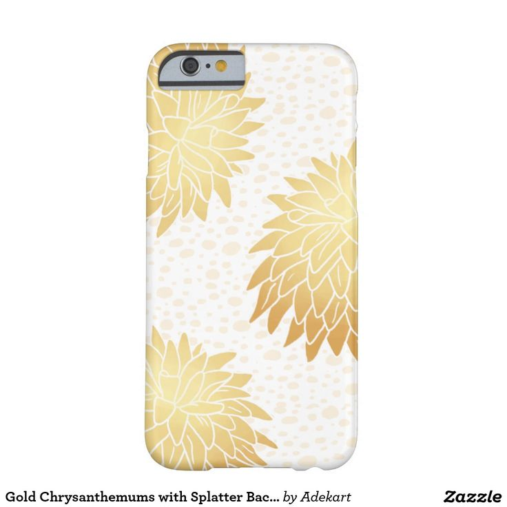 Gold Chrysanthemums with Splatter Background Barely There iPhone 6 Case