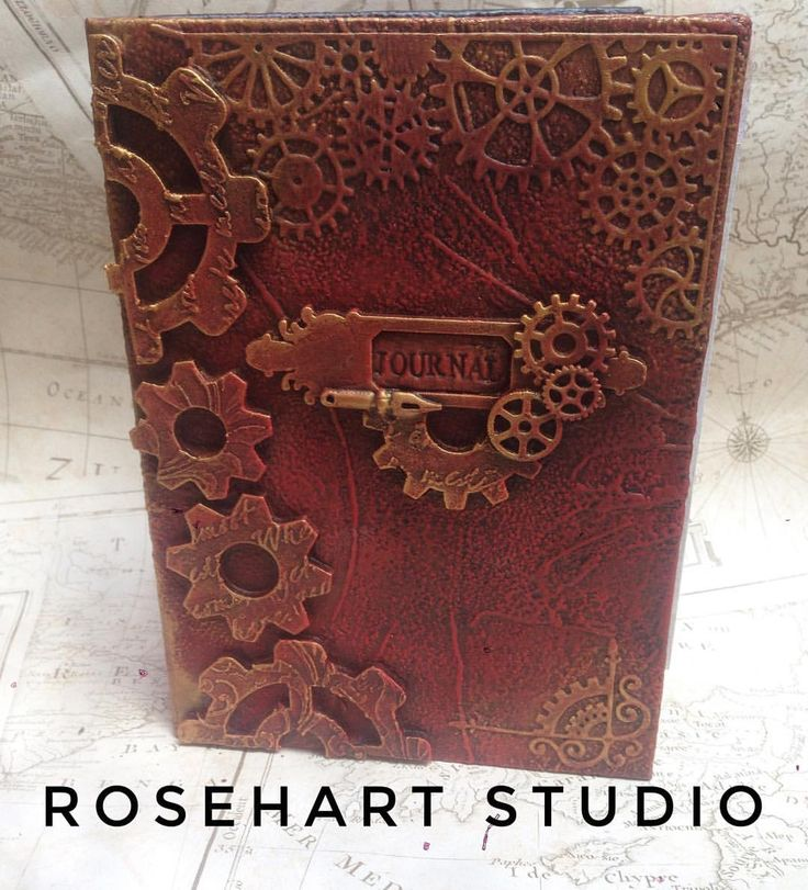 """By Anna Emelia Howlett @rosehartstudio • Powertex, Powertex UK, Powertex Design Team 2017, Powertex UK tutor, Mixed media, mixed media artist, journal cover, journal, altered book """"Nearly there now with this one. Just pages to finish. #steampunk #powertex #journal #books #book…"""""""