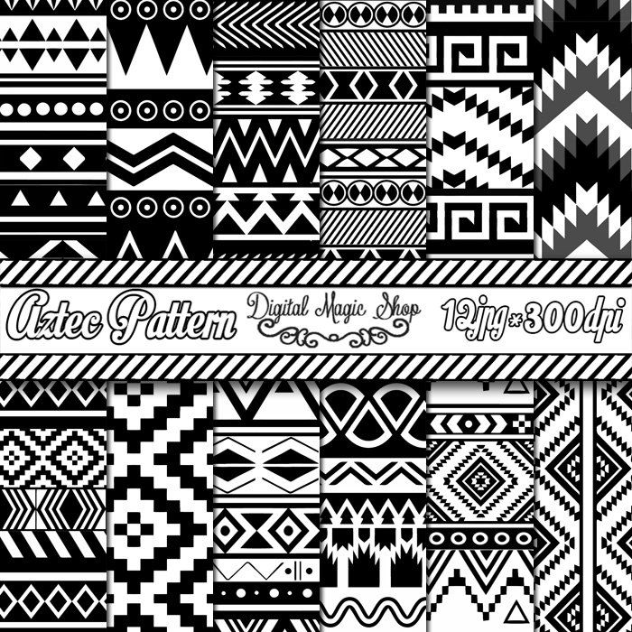 Aztec Digital Paper Black and White Seamless by DigitalMagicShop