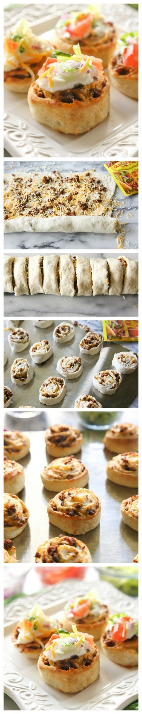 Taco Pizza Rolls - taco meat and cheese rolled up in pizza dough and topped with your favorite taco toppings. the-girl-who-ate-everthing.com