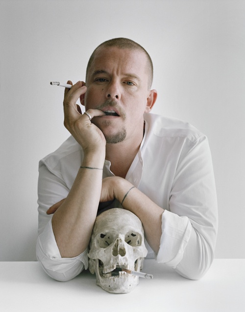 Alexander McQueen with skull and cigarettes. Clerkenwell, London, 2009