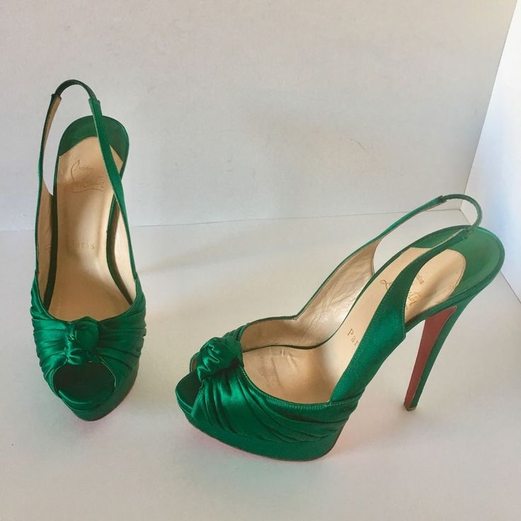 Christian Louboutin Jenny 150 Heels Satin Emerald Green Shoes Size 38.5 EU 8.5  | eBay