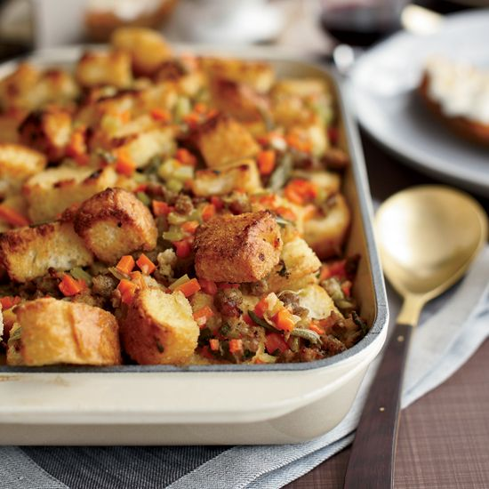 Sausage-and-Bread Stuffing | This sausage dressing has an especially rich flavor when made with homemade turkey stock.