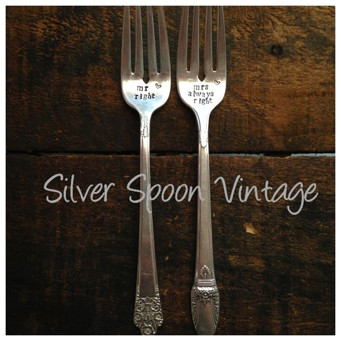 Hand stamped vintage cake forks - mr right mrs always right | Silver Spoon Vintage | madeit.com.au