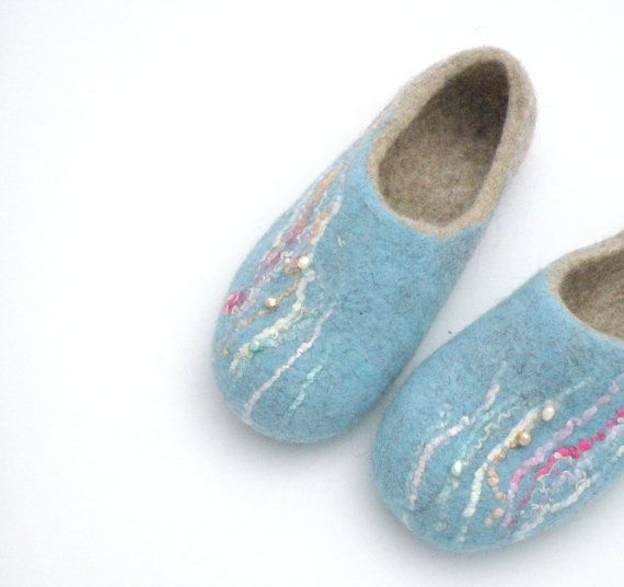 handfelt wool slippers with natural freshwater pearls by Briga