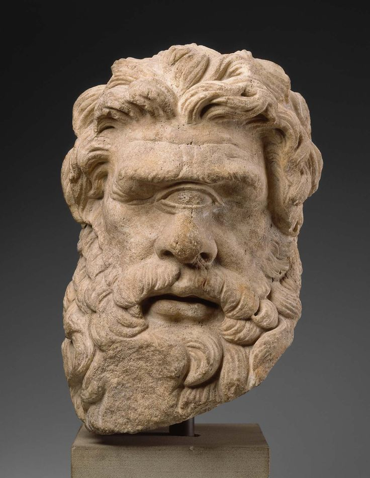 """Head of Polyphemus. Greek or Roman, Hellenistic or Imperial Period, 150 B.C. or later. Dolomitic marble. Museum of Fine Arts, Boston. From MFA Boston: """"This is the head of the one-eyed, man-eating Cyclops whom Odysseus finally outwitted and blinded...."""