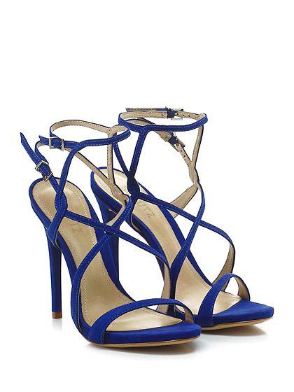 SCHUTZ - Sandalo alto - Donna - Sandalo alto in nabuk con doppio cinturino alla caviglia e suola in cuoio. Tacco 125, platform 15 con battuta 110. - BLUETTE - € 200.00