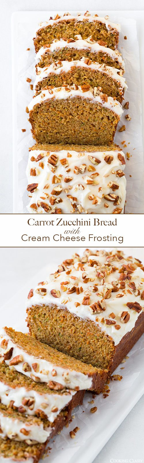 Carrot Zucchini Bread with Cream Cheese Frosting - LOVE this bread!