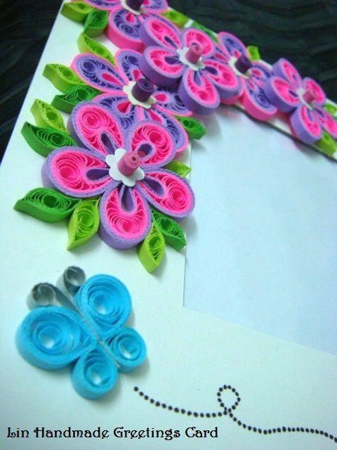 Lin Handmade Greetings Card: Purple and pink Malaysian flower