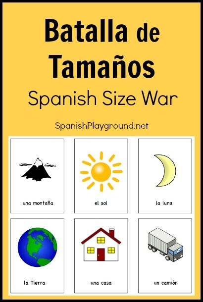 Fun Spanish games for kids: Batalla de tamaños. A fun way to practice Spanish vocabulary and comparisons with kids learning Spanish. #Spanish card games for kids http://spanishplayground.net/printable-spanish-game-kids-batalla-tamanos/