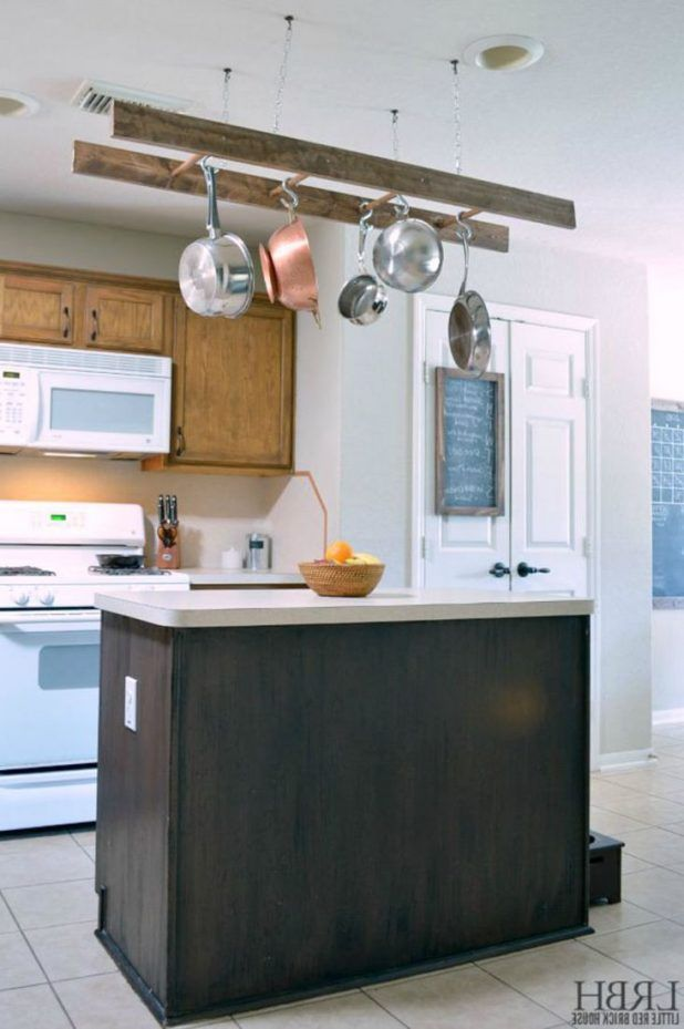 Kitchen Hanging Pots And Pans On Wall White Stone Tile Floor Fl Pattern Backsplash Lime High Gloss Oak Wood Countertop