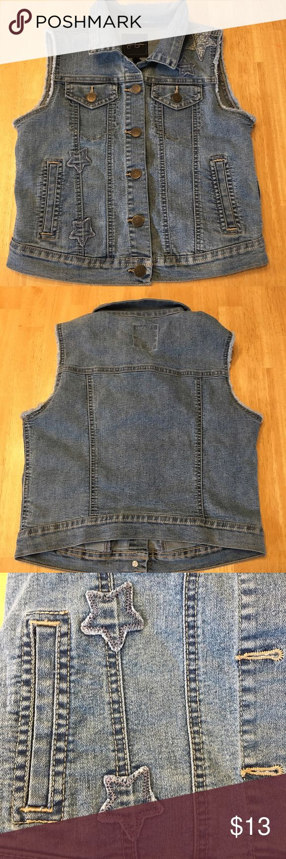 Jessica Simpson girls L 12 14 Denim vest cropped Girls Sz 12-14 Jessica Simpson vest Sz Large has cute designer fray & distressed star patches. This is a girls/tween , not ladies. Smoke free home. Ask ?'s prior to purchase as all sales are final. Jessica Simpson Jackets & Coats Vests