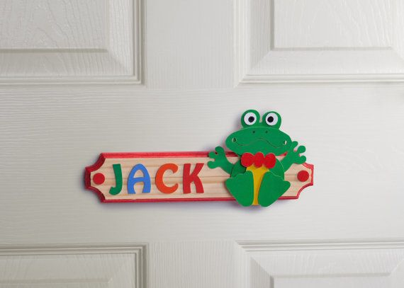 Personalised Frog Name Plaque Wooden Door Sign by gandobambino