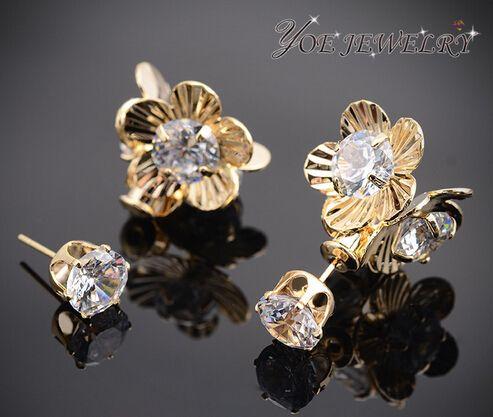 Новый бренд 2015 круглый горный хрусталь цветок серьги мода пара ювелирных изделий золото серебро двусторонняя серьги стержня для женщин,