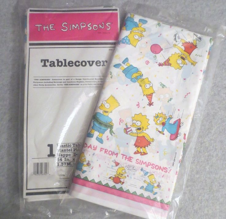 This vintage Simpsons table cover is dated 1990.  Other vintage Simpsons party supplies includes plates and napkins.   This table cover features all of your favorite characters and would be perfect for your party.