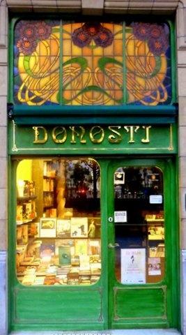 Book shop door in San Sebastian, Spain--Love the gorgeous art nouveau stained glass.