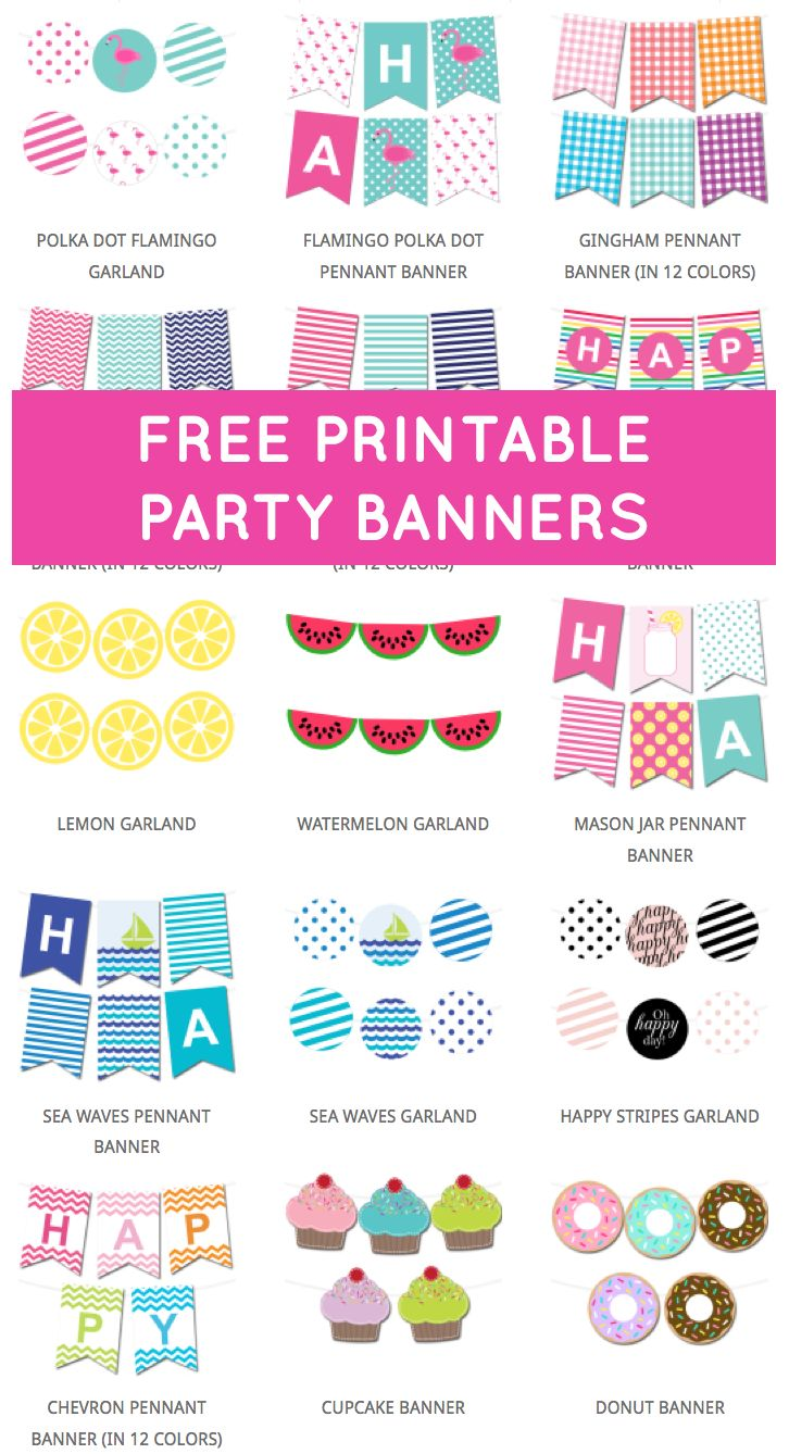 free printable party banners from chicfetti free printables