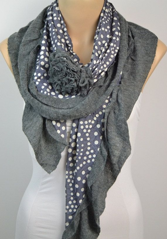 ON SALE  PolkaDots Scarf  Gray Scarf Cotton Scarf  by LIFEPARTNER, $17.50