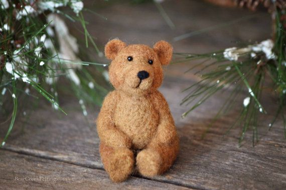 Needle Felting Kit - Bear - DIY craft - learn how to needle felt - DIY felted miniature
