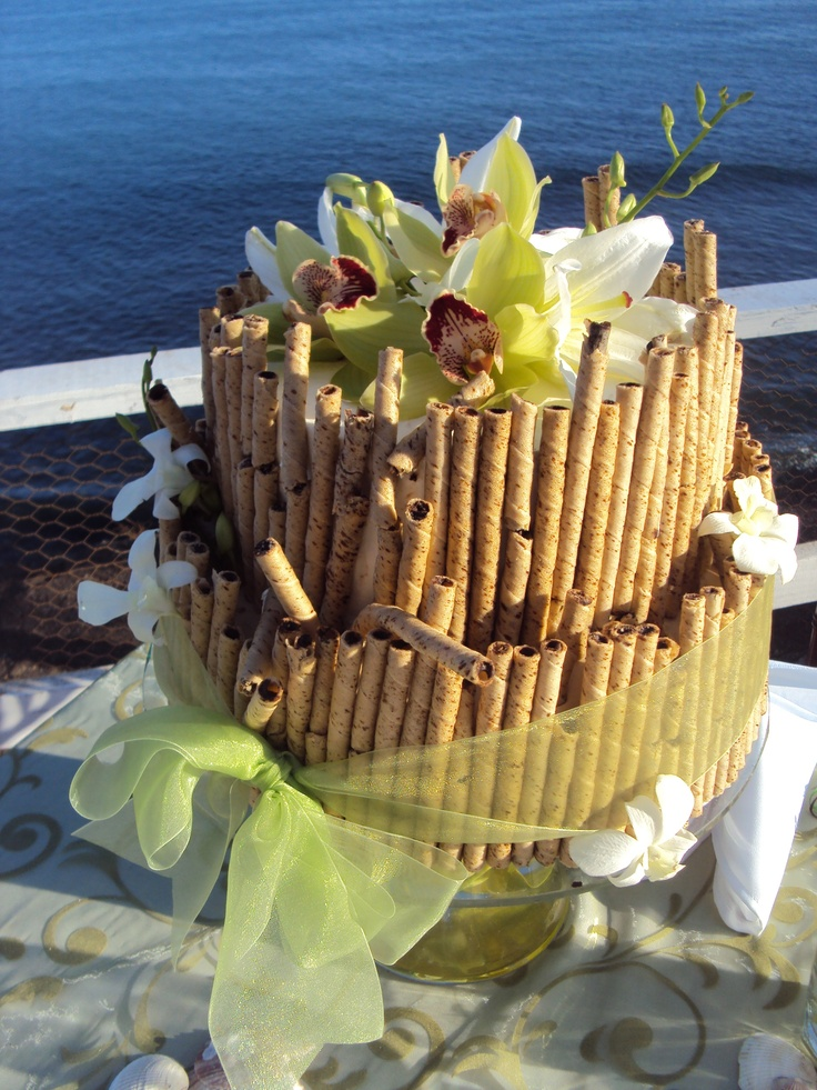 Hermoso y sencillo, pastel para boda en playa (Beautiful and simple, beach wedding cake)