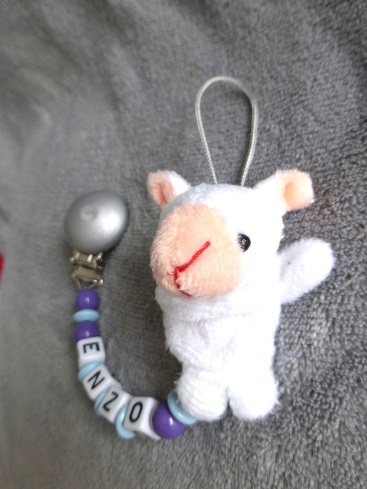 Attache t tine personnalisable avec pr nom perles violettes et bleu ciel peluche mouton - Attache tetine prenom ...