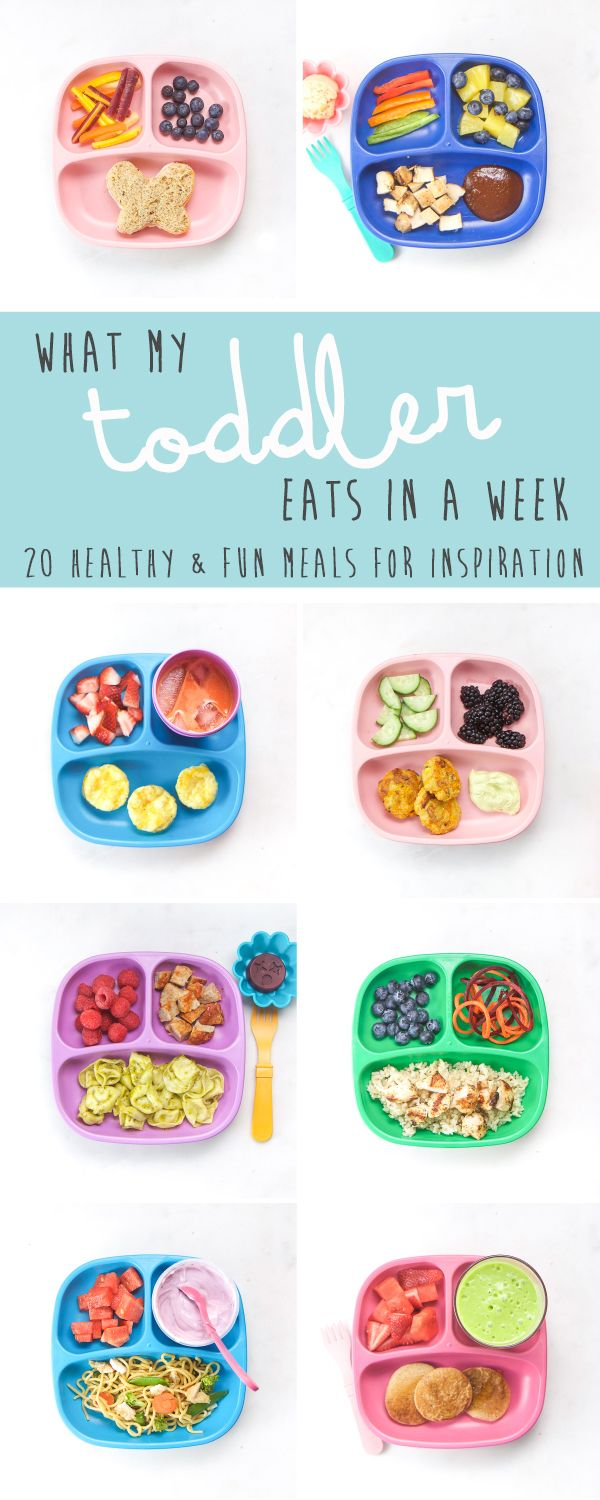 A true look at What My Toddler Eats in a Week. 20 healthy and fun meals to get ideas for your own little one. Also included are links to recipes, advice on how to deal with picky eaters and my tried-and-true methods on how to make healthy meals without losing your mind!