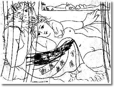 Minotaur and woman behind a curtain - Pablo Picasso