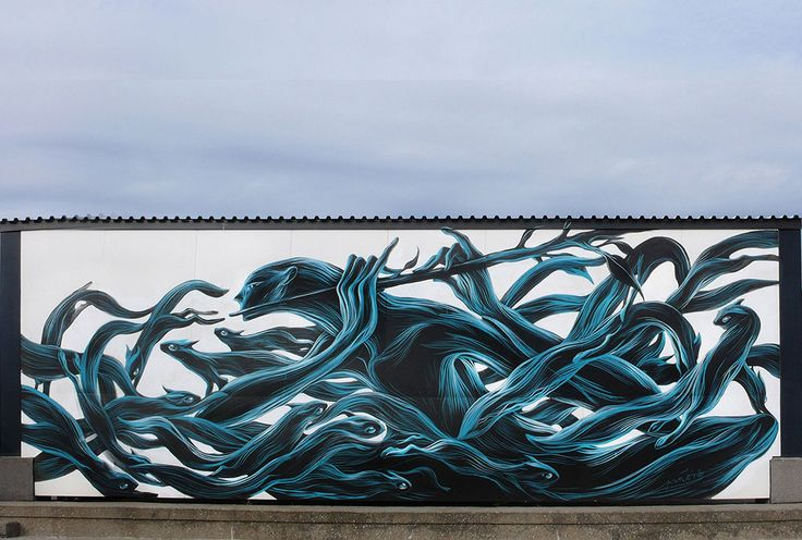 Portuguese street artist Antonio Correia aka Pantonio depicts fluid swarms of fish, birds, and other creatures as they interweave dramatically on the sides of buildings. His use of black and blue paint to form sinuous lines evoking water or muscle lends a distinct sense of motion to each piece a