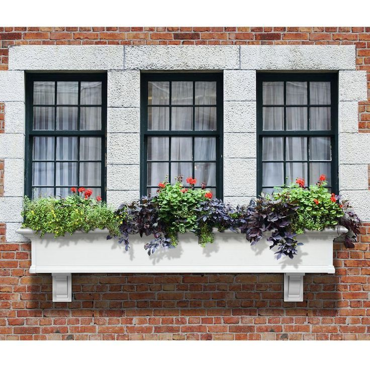 Mayne Self Watering Yorkshire 12 In X 72 In Vinyl Window Box 4826w The Home Depot In 2020 Window Planter Boxes Window Box Flowers Window Box