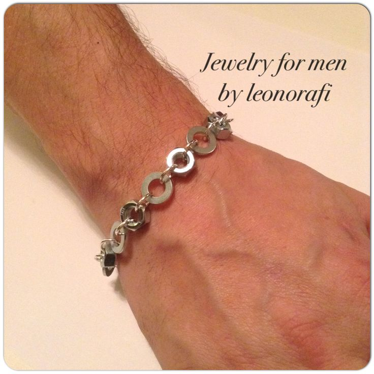 Jewelry for men by leonorafi Bracelet nuts and washers, bracelet for men by leonorafi on Etsy
