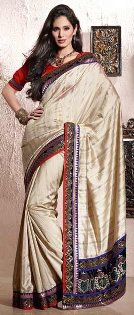 Beige Bhagalpuri #Silk #Saree With Blouse @ $86.76 | Shop Here: http://www.utsavfashion.com/store/sarees-large.aspx?icode=stm183