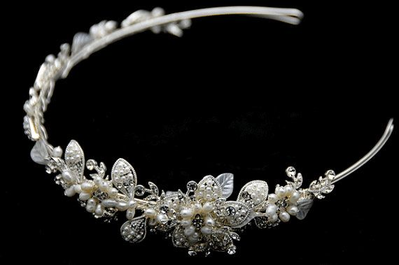 Vintage Inspired Bridal Headband Freshwater Pearl by jasfavor, $60.00