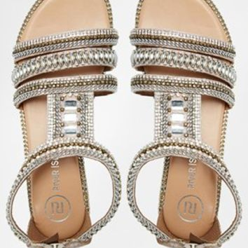 River Island Sead Heavily Embellished Flat Sandals