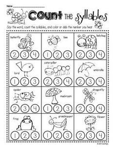 Syllable Worksheets Kindergarten