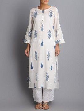 Ivory-Indigo Hand Block Printed Roll-Up Sleeve Cotton Kurta
