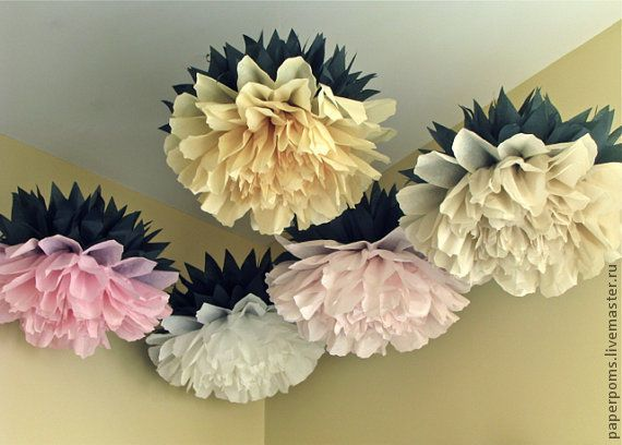 paper poms Lightingsky 10pcs diy decorative tissue paper pom-poms flowers ball perfect for party wedding home outdoor decoration (6-inch diameter, white.