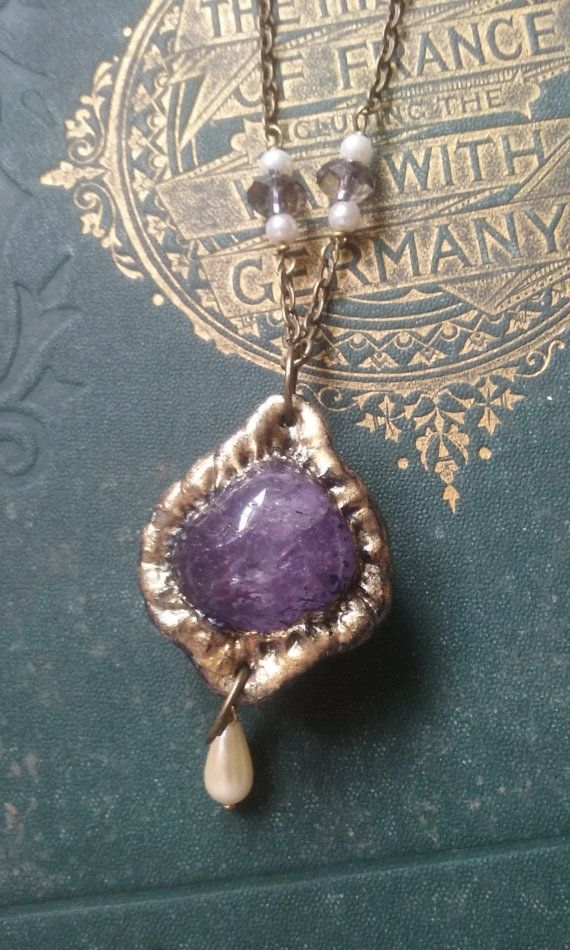 Amethyst stone crystal pendant and chain by CelticGoddessCosmos