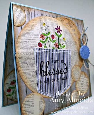 Handmade card, Two Paper Divas Stamps, Shabby Chic, Distress Inks, Dictionary Paper