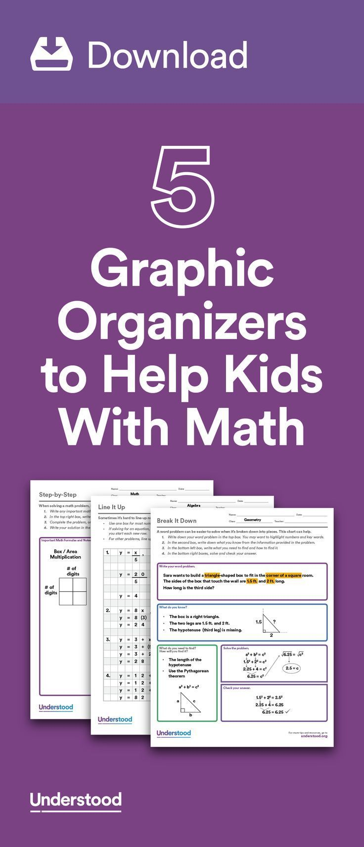 If your child has trouble with math because of dyscalculia or other learning and attention issues, graphic organizers can help. Graphic organizers allow kids to break down math problems into sequential steps. #mathlessons