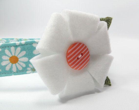 Daisy Dog Collar Teal Floral Dog Collar Flower by LittleDogsCloset, $20.00