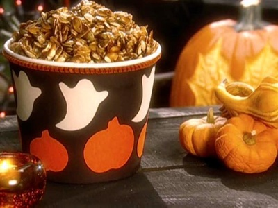 Carmelized Pumpkin Seeds -  great variation on the classic roasted pumpkin seeds!