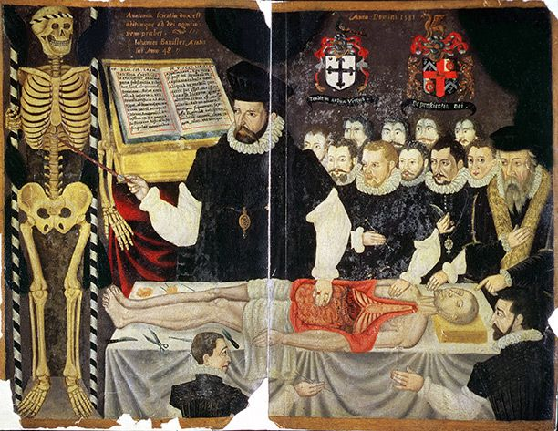Medicine in early modern Britain is commonly perceived as crude and ineffective. But for all its shortcomings, says Alun Withey, there was no shortage of medical practitioners. Image: John Banister, admitted to the company of Barber Surgeons in 1572, dissecting the body of a criminal. http://www.historytoday.com/alun-withey/national-health-service-early-modern-medicine