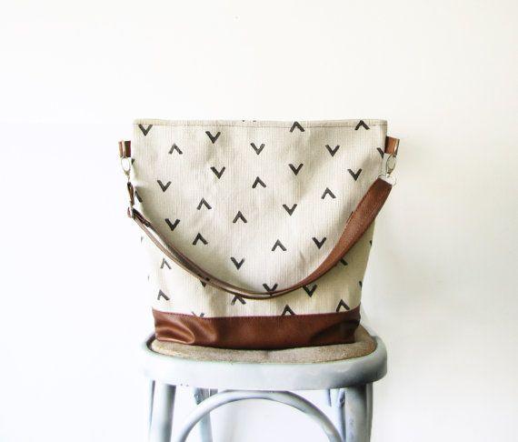 Geometry Hobo Bag Crossbody Bag Canvas and vegan Leather by byMART
