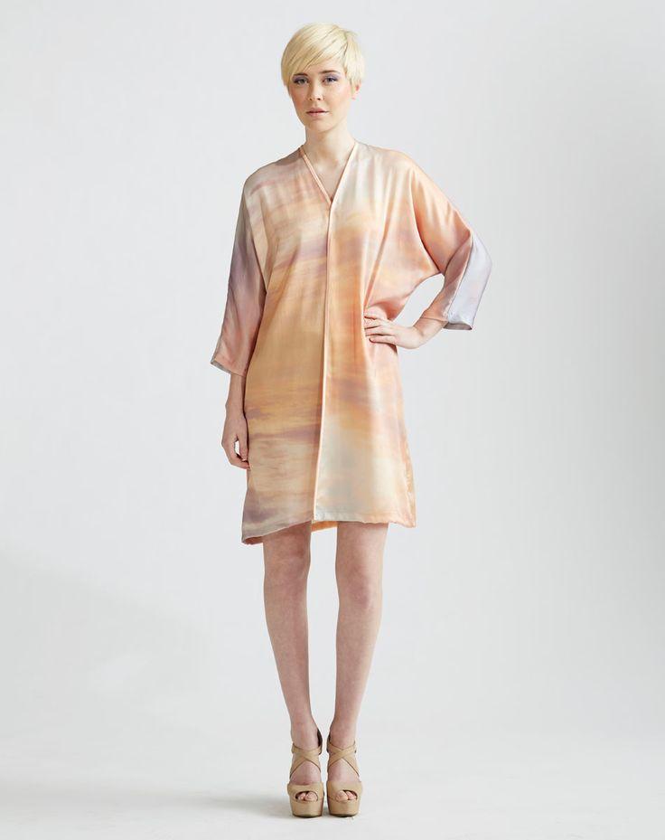 Digitally printed Silk Kimono in Sunrise Print  www.jenkinsandjane.com.au