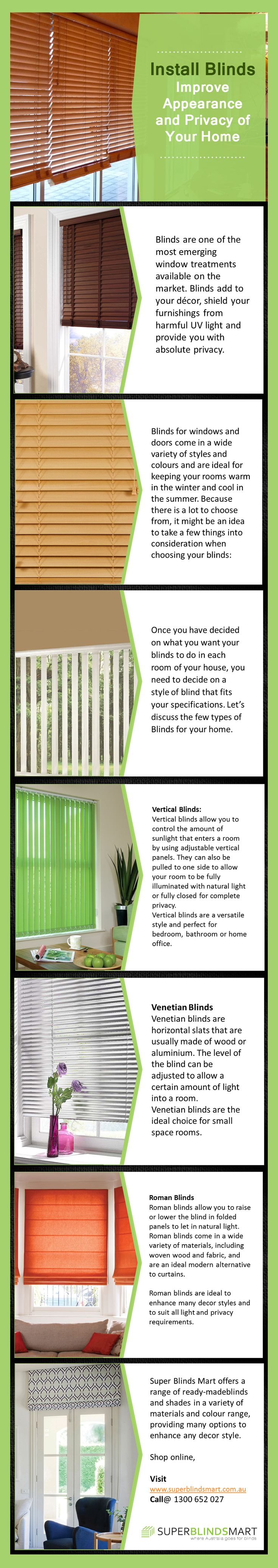 Buy Blinds Online - Super Blinds Mart in Australia  -  Get 10% Off All Venetian Blinds - SPECIAL ON NOW! At Super Blinds Mart, you can find high quality blinds/shades including Roller Blinds, Roman Blinds, and Venetian Blinds etc. that matches any decor style. Visit http://www.superblindsmart.com.au/