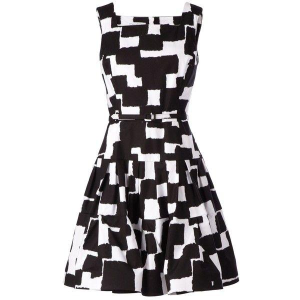 Oscar de la Renta Graphic Print Belted Dress ($1,750) ❤ liked on Polyvore featuring dresses, short dresses, vestidos, black, oscar de la renta, mini dress, graphic dresses and dresses with belts