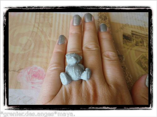 ☀BAGUE TAILLE REGLABLE OURS ME TO YOU GRIS GLITTER FIMO